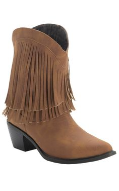 Roper® Rockstar™ Ladies Tan with Fringe Short Top Fashion Western Boots