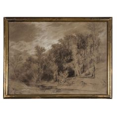Signed 19th c. Charcoal and Chalk Landscape   From a unique collection of antique and modern paintings at https://www.1stdibs.com/furniture/wall-decorations/paintings/