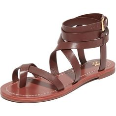 Tory Burch Patos Sandals (300 AUD) ❤ liked on Polyvore featuring shoes, sandals, wrap sandals, leather sandals, leather strap sandals, leather flats and leather criss cross sandals