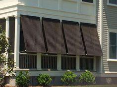 Pergola To House Attachment Bermuda Shutters, Bahama Shutters, Balcony Design, Roof Design, Porch Privacy, Shutter Designs, Hurricane Shutters, Side Porch, Front Porches
