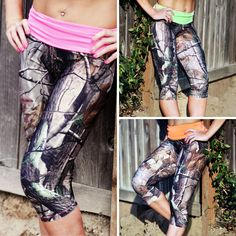 Camo Capri Leggings, Made in USA