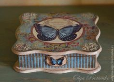 MARIPOSA Decoupage Box, Decoupage Vintage, Painted Boxes, Wooden Boxes, Dyi Decorations, Tea Box, Pretty Box, Altered Boxes, Craft Bags