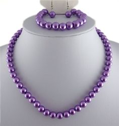 Jay Jewellery - Purple glass pearl necklace with earrings and bracelet tAZl2BsPi