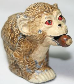Rare ANTIQUE c1800's~~Metal MONKEY Eating a Nut;Tape Measure ~~figural,Novelty
