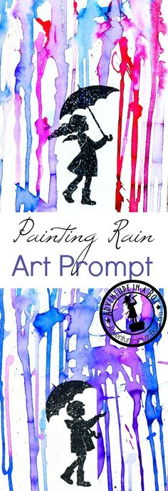 Painting Rain with a Printable Art Prompt: What is the colour of rain? Give these printable art prompts to children along with watercolour paints and find out! It's a great rainy day art project for kids. Kindergarten Art, Preschool Art, Preschool Painting, Kids Art Activities, Weather Art, Rain Painting, Dot Painting, Winter Painting, Painting Canvas