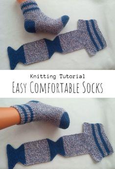 Knit Slippers Free Pattern, Knitted Slippers, Crochet Doll Pattern, Knit Or Crochet, Crochet Patterns, Diy Crafts Knitting, Easy Knitting Patterns, Free Knitting, Knitting Socks