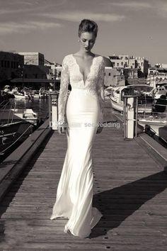 plunging V neck wedding dress - Google Search