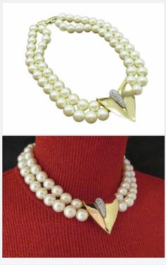 This graceful choker offers pearlicious sophistication and elegance with double a row of faux pearls and chunky gold and rhinestone pendant embellishment. http://stores.ebay.com/Stuff4Uand4U