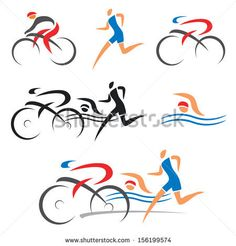 Icons symbolizing triathlon, swimming, running and cycling. Vector illustration. by jiris, via Shutterstock