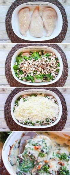 This is the BEST baked chicken dinner recipe I have made!! The Cali-Alfredo Chicken bake is chicken breast baked with spinach, mushrooms, bacon, alfredo and cheese on top. It literally tastes like something you order at a restaurant!