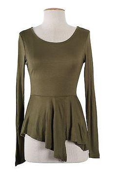 Sexy Round Neck Asymmetrical Hi-Low Hem Peplum Long Sleeve Fitted Top Shirt
