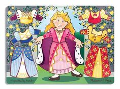 Melissa & Doug Princess Dress-Up Peg Puzzle. Encourages hand-eye, fine motor and creative expression skills.  Suitable for ages 2+