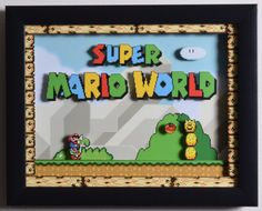 Super Mario World Shadow Box - Title Screen - SNES - Super Nintendo - Shadow Box Acrylic Frame - - Augmented Reality Video Game Crafts, Video Game Rooms, Video Game Art, Super Mario World, Super Mario Bros, Retro Videos, Retro Video Games, Retro Games, Animation Pixel