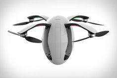 An futuristic looking egg shaped quadcopter camera drone.