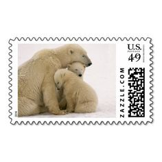 Polar Bear Mother and Cubs Cuddling Stamps