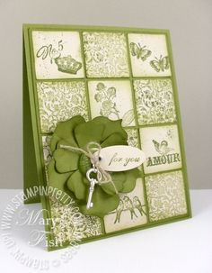 luv this monochromatic card in Old Olive...stamped inchies in light and dark patterns alternate in the background...big Old Olive layered flower on top...Stampin Up makes monochromatic simple with its coordinated inkds, papers and embellishments...