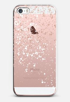 Modern elegant rose gold glitter white confetti splatters by Girly Trend iPhone SE case by Girly Trend | Casetify