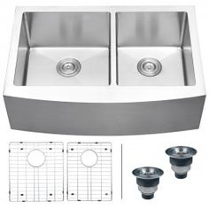 "Ruvati RVH9201 Apron Front Stainless Steel 33"" Kitchen Sink Double Bowl"