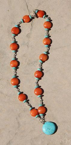 Orange and turquoise beaded necklace by BonnieJaneLane on Etsy, $18.00