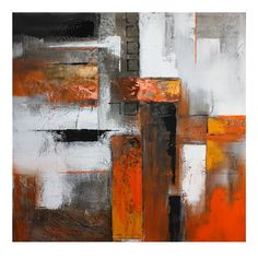 Orange Abstract I Oil Painting Canvas