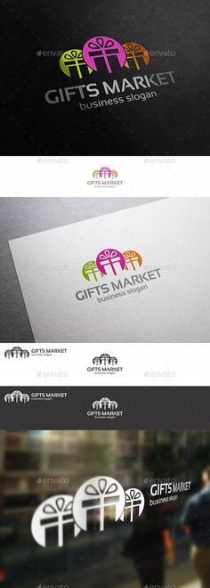 Gifts Shop Market  - Logo Design Template Vector #logotype Download it here: http://graphicriver.net/item/gifts-shop-market-logo/9927103?s_rank=270?ref=nexion