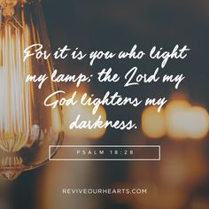 For it is you who light my lamp; the Lord my God lightens my darkness. Psalm 18:28