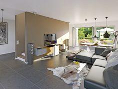 Blick in den offen gestalteten Wohnbereich in der Variante Avantgarde.