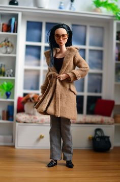 OOAK Made to Move Barbie Wearing Camel Coat, Wine Blouse, and Houndstooth Slacks    #OOAKBarbie #OOAKMadeToMoveBarbie #BarbieStyle #BarbieFashion #BarbieOOTD #DollStyle #DollFashion #DollOOTD
