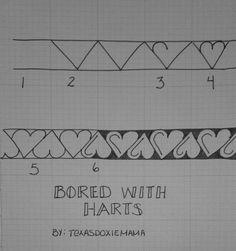 平行線にジグザグから上下のハートのアイデア 布に直に下書きする時の参考
