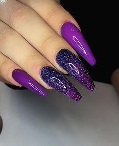 Purple Acrylic Nails, Best Acrylic Nails, Purple Nails, Matte Nails, Purple Nail Polish, Glitter Nail Art, Purple Nail Designs, Pretty Nail Designs, Nail Art Designs