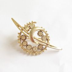 1960's Vintage Crystal Brooch, Gold Plated by RetroroxJewellery on Etsy