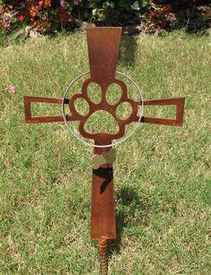 Pet Memorial Cross Metal Garden Stake 1 - Metal Yard Art - Metal Garden Art - Rusty