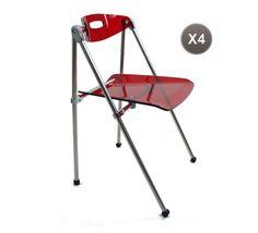 Chaise design plexiglas rouge pliante JULIE (lot de 4) - Miliboo