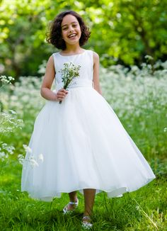 Classic Ivory Princess First Communion Dress - Sleeveless Satin Bodice Tulle Skirt - Fleur 6 years 7 years - UK Stockists of Communion Dresses