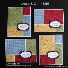 MAKE 3...GET ONE FREE....Use three sheets of cardstock to create four cards...brilliant...and blogger gives dimensions!