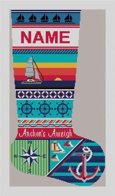 Anchors Aweigh Sailing #Needlepoint Stocking Kit | NeedlePaint.com
