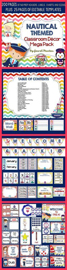 Nautical Theme | Nautical Theme  All aboard! Treat your crew to this Nautical Themed Classroom Decor Mega Pack. It comes with 200 pages of NO PREP HEADERS, LABELS, CHARTS AND SIGNS plus 25 pages of EDITABLE PARTS/TEMPLATES.