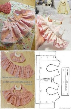 baby doll clothes patron para hacer un ve - clothes Sewing Doll Clothes, Baby Doll Clothes, Sewing Dolls, Pet Clothes, Barbie Clothes, Baby Dress Patterns, Dog Clothes Patterns, Doll Sewing Patterns, Peasant Dress Patterns