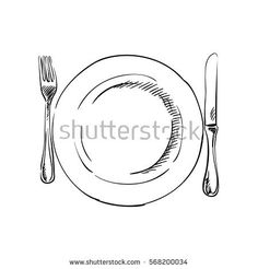 Sketch of plate, knife and fork. Hand drawn illustration, Isolated vector black lines on white background