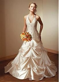 Gorgeous Satin Ball Gown Halter Neckline Wedding Dress With Beads