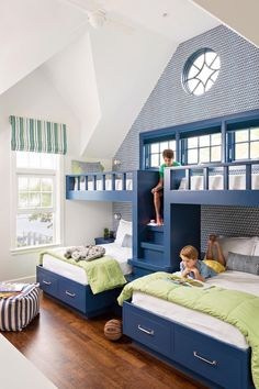 If there are kids in your family with a nautical bent, what better way to jazz up their rooms than with beach-themed bunk beds? Bunk beds don't just save space, . Read moreSpruce Up a Bedroom with these Creative Beach Bunk Beds Bunk Bed Rooms, Bunk Beds Built In, Modern Bunk Beds, Kids Bunk Beds, Kids Beds For Boys, Build In Bunk Beds, Bed Ideas For Kids, Boys Bunk Bed Room Ideas, Double Bunk Beds