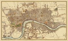 "Jane Austins London!! London Antique map Print - 33 x 54.5 "". $91.00, via Etsy."