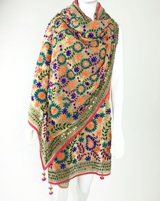 Handmade Phulkari Dupatta on Georgette base Shop online www.pinkphulkari.com California Based Company