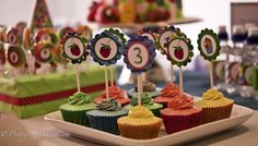 The very hungry caterpillar birthday party cupcakes! See more party planning ideas at CatchMyParty.com!