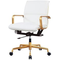 Rachel George White Vegan Leather Gold Office Chair (Cushioned) featuring polyvore, home, furniture, chairs, office chairs, white furniture, gold furniture, white office chair, padded chairs and padded office chair