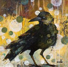 Catherine Earle, Curiosity acrylic on canvas Bird Outline, Crow Art, Crows Ravens, Smart Art, Bird Artwork, Unusual Art, Bird Pictures, Art Studies, Watercolor Paintings