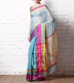 Khushnuma Sky Blue Cotton Silk Maheshwari Saree
