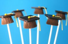 graduation cake-pops: bad link so idea only..mini muffin pan with mini chocolate bar on top? Or skip cake use mini Reese's