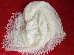 Traditional Square Christening Shawl Cashmere and by PattiLaceKnit