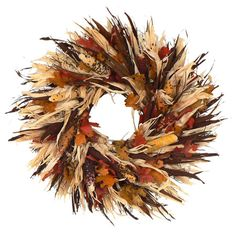 Featuring a swirl of brilliant Indian corn, husks, and bright faux leaves, this wreath welcomes guests with abundance and bounty. Produc...